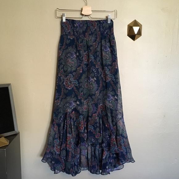 Anthropologie Dresses & Skirts - Vanessa Virginia Paisley Silk Hi Low Maxi Skirt 0